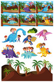 Fototapeta Dinusie - Set of dinosaur character and scene