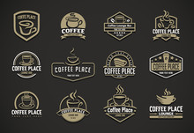 Vector Illustration Concept Of Coffee Logo. Brown On Black Background