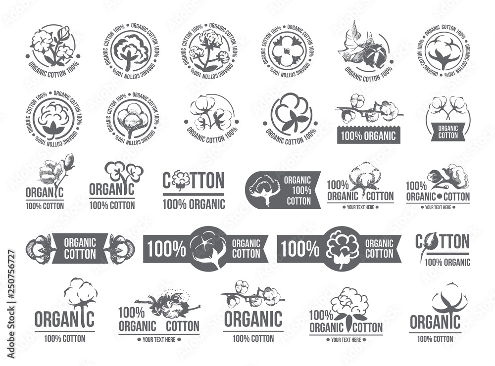 Fototapety, obrazy: Natural organic cotton, pure cotton vector labels set. Hand drawn, typographic style icons or badges, stickers, signs. Isolated white background