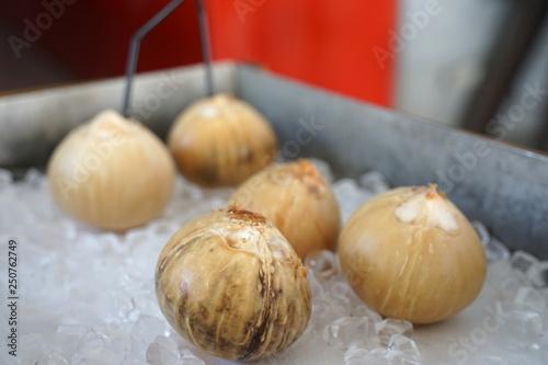 Fotografía  Peeled Coconut serving on ice cube