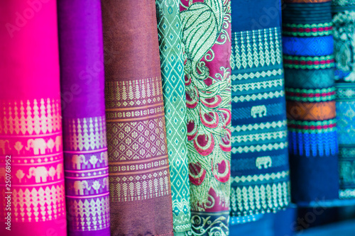 Fotografiet  Colorful of native thai style silk