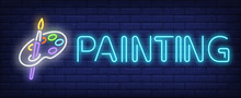 Painting Neon Text With Brush And Palette