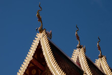 Chiang Rai Thailand, Multi-tier Roof With Carved Serpent Finials At Wat Sri Bun Rueang