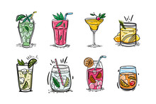 Vector Set Of Cocktails. Hand Drawn Vector Illustration Is Sketch Style. Isolated On White Background.