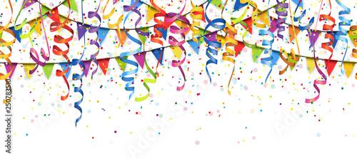 Fototapeta seamless colored confetti, streamers and garlands background obraz na płótnie