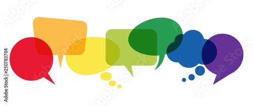 Obraz colored speech bubbles in a row - fototapety do salonu