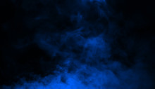 Abstract Blue Smoke Mist Fog On A Black Background. Texture Background For Graphic And Web.
