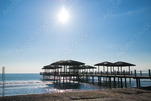 In de dag Inspirerende boodschap ruined pier on the beach
