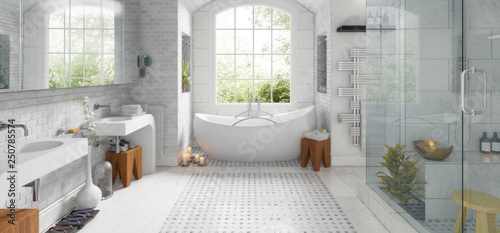 Fotografie, Obraz  Renovation of an old building bathroom (panoramic) - 3d visualization