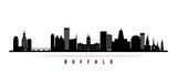 Fototapeta Nowy Jork - Buffalo city skyline horizontal banner. Black and white silhouette of Buffalo USA city. Vector template for your design.
