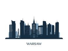 Warsaw Skyline, Monochrome Sil...