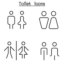 Toilet, Restroom, Bathroom Icon Set In Thin Line Style
