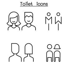 Toilet, Restroom, Bathroom Icon Set In Thin Line Style