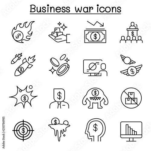 Fototapeta Business war, Business sanction, trade war, import tax icon set in thin line style obraz na płótnie