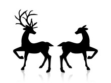 Male And Female Deers Icon.