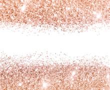 Rose Gold Glitter On White Bac...