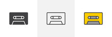 Cassette Tape Icon. Line, Glyph And Filled Outline Colorful Version, Audio Cassette Outline And Filled Vector Sign. Retro Music Symbol, Logo Illustration. Different Style Icons Set. Pixel Perfect