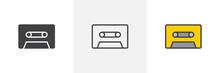 Cassette Tape Icon. Line, Glyp...