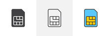 Sim Card Icon. Line, Glyph And Filled Outline Colorful Version, Mobile Telephone Card Outline And Filled Vector Sign. Communications Symbol Logo Illustration. Different Style Icons Set. Pixel Perfect