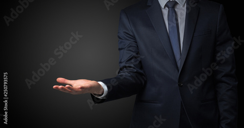 Businessman without head holding something without theme Wallpaper Mural