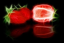 Fractal Image Of Sliced Strawberries With A Reflection On A Contrasting Black Background