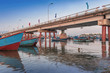 Vietnam, Nha Trang. May 3, 2015 Fishing village and bridge over the river Kai in the early morning