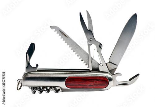 Valokuva  Multipurpose pocket knife on white background
