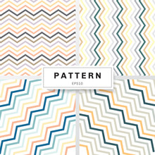 Set Of Chevron Patterns Pastels Color On White Background. Yellow, Orange, Deep Blue, Brown, Green, Gray. Perfect For Wallpapers And Pattern Fills Zig Zag.