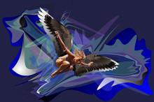 Girl Bird Prey Wings Bright Colorful Vector Illustration