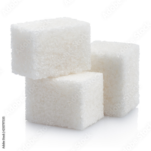 Close-up of three white sugar cubes, isolated on white background Canvas-taulu