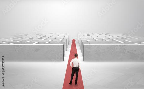Fototapeta Businessman going straight ahead on a red carpet arrow between two maze