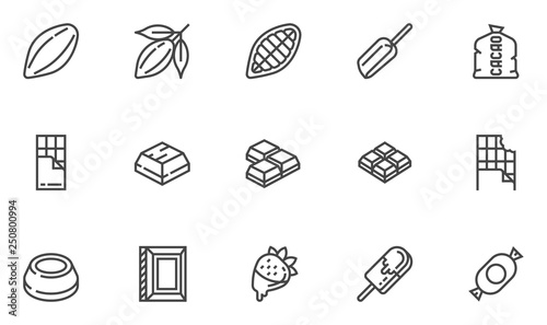 Fotografía  Cacao and Chocolate Vector Line Icons Set