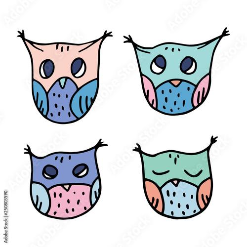 Cute Hand Drawn Owls Vector Set.