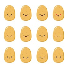 Set With Cartoon Potatoes Isolated On White, Background With Cute Vegetable Characters