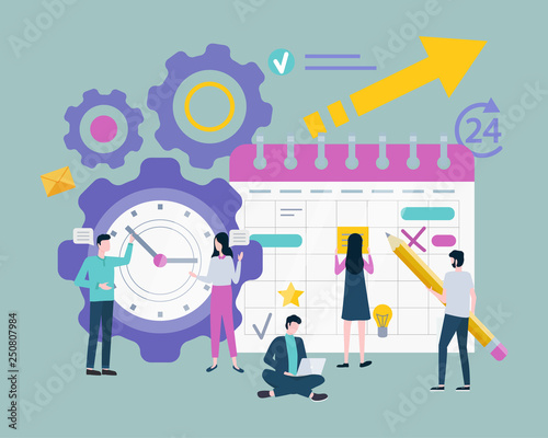 Schedule or organizer, planning or time management vector. Clock dial, businessman and businesswoman, calendar sheet with events, productive work