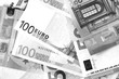 One Hundred and Fifty euro banknotes close up in black and white style