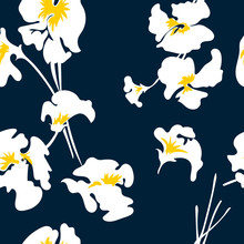 Floral Seamless Pattern . Cute Floral Pattern In The White Flower. Motifs Scattered Random. Seamless Vector Texture. Elegant Template For Fashion Prints.