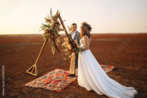 фотография  young and beautiful bride and groom enjoy each other