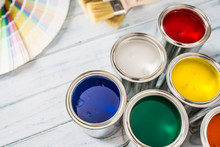 Paint Cans Brushes And Color P...
