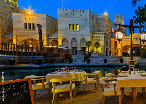 фотография  Night life Street Cafe on Restaurant Terracei Light Illumination