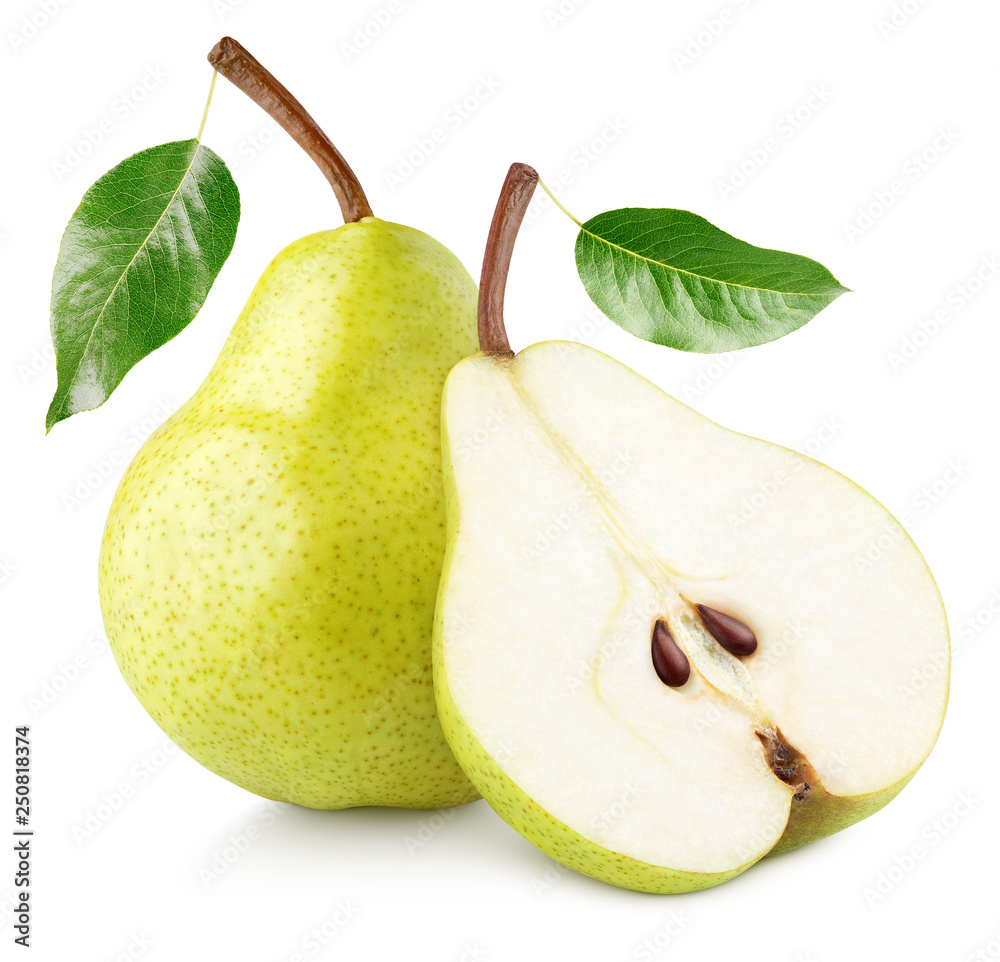 Fototapeta Green yellow pear fruit with pear half and green leaves isolated on white background with clipping path. Full depth of field.