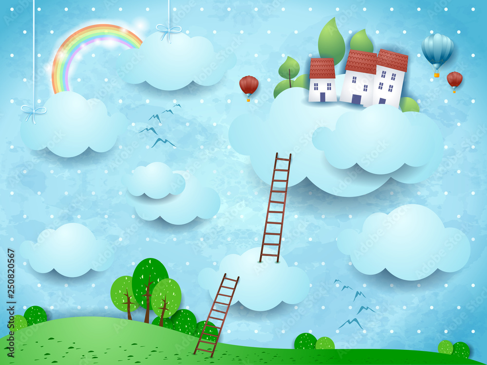 Fototapeta Fantasy landscape with clouds, village and stairways