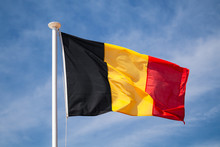 Flag Of Belgium Waving On Wind