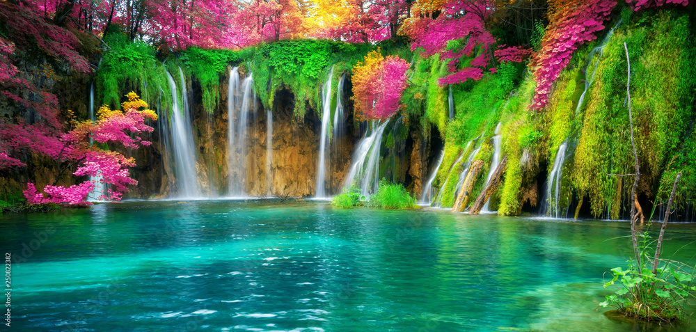 Fototapeta Waterfall landscape of Plitvice Lakes Croatia.