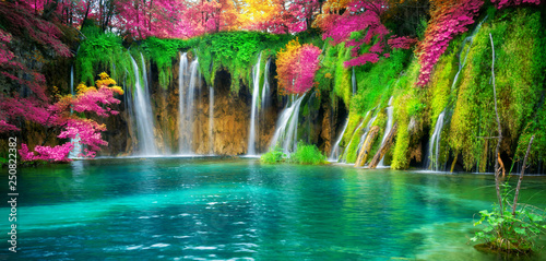 Photo Stands Landscapes Waterfall landscape of Plitvice Lakes Croatia.