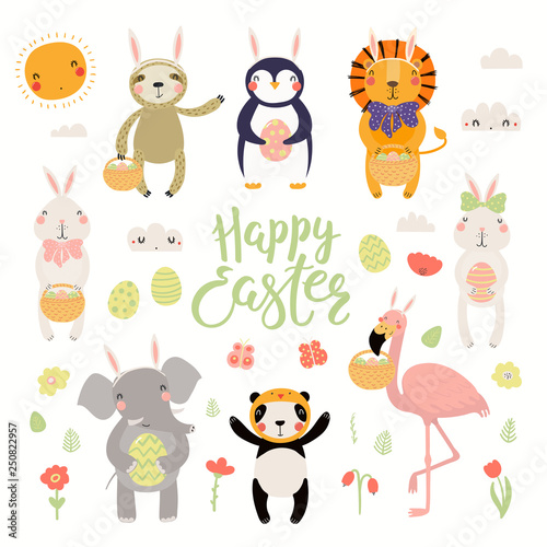 Printed kitchen splashbacks Illustrations Set of cute animals flamingo, bunny, penguin, sloth, lion, panda, elephant, eggs, text Happy Easter. Isolated objects. Hand drawn vector illustration. Scandinavian style flat design Concept for kids
