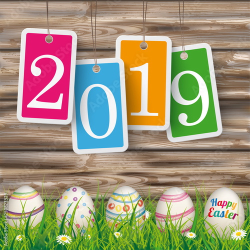 Fotografering  Easter Eggs Worn Wood Price Stickers 2019