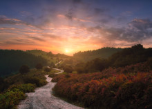 Path In The Mountains With Beautiful Sunset