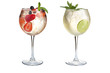 Two refreshing cocktails with mint, fruits and berries on a white background. Cocktails in glass goblets.