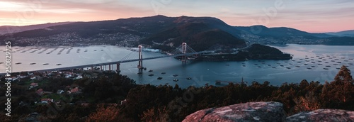view of the Rande bridge and the estuary in Vigo, Galicia